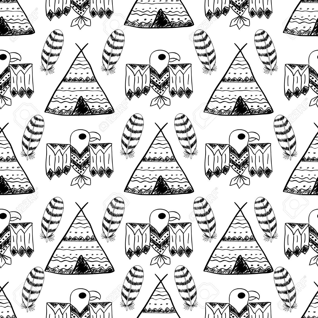 Native American Seamless Pattern With Different Tribal Symbols