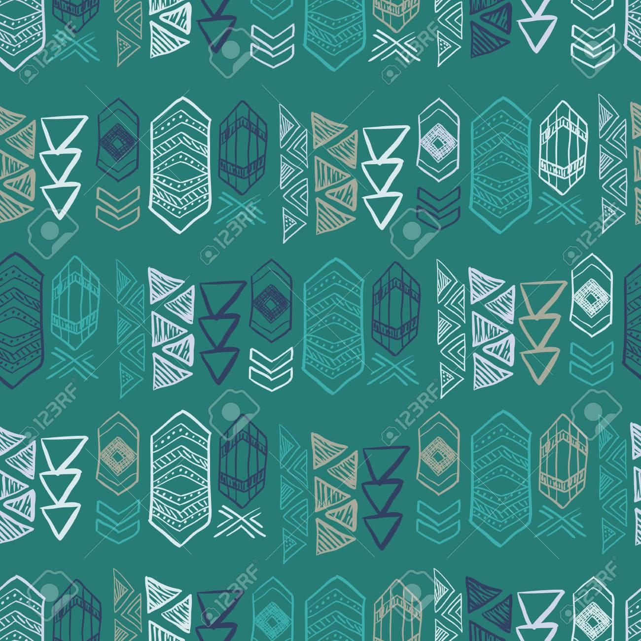 抽象的なアステカのシンボルとネイティブ アメリカンのシームレスなパターン テキスタイル 壁紙 カードの装飾の色手描き落書きのベクトルの背景のイラスト素材 ベクタ Image