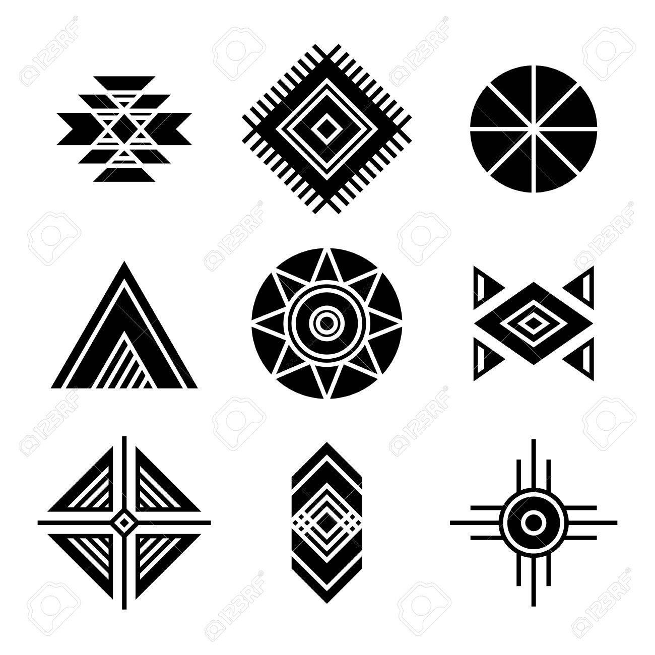 Native american indians tribal symbols set geometric shapes native american indians tribal symbols set geometric shapes icons isolated on white stock vector biocorpaavc Images