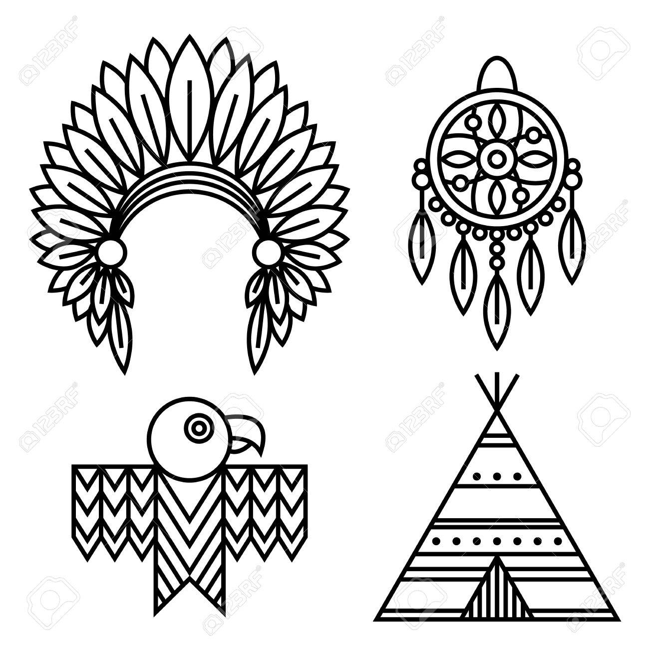 a276b1918f074 Native American Indians Icons Set Linear Style. Tribal symbols isolated on  white for design logo