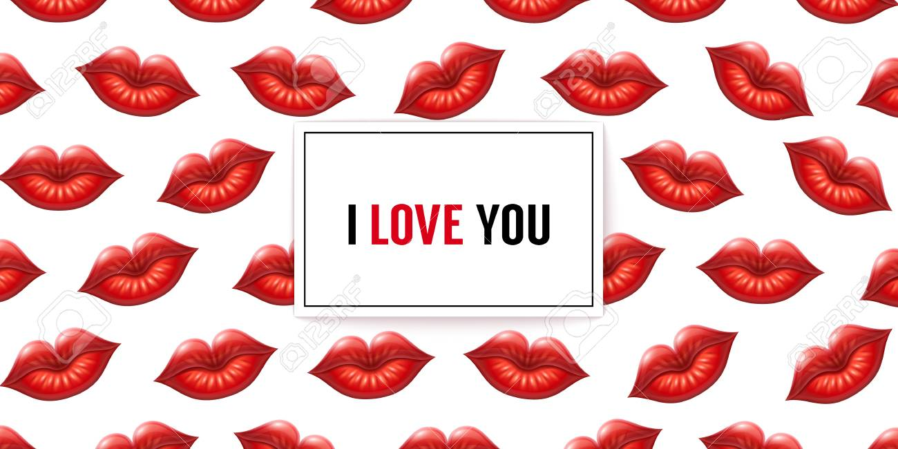 I Love You Background With Lips And Frame. Vector Illustration ...