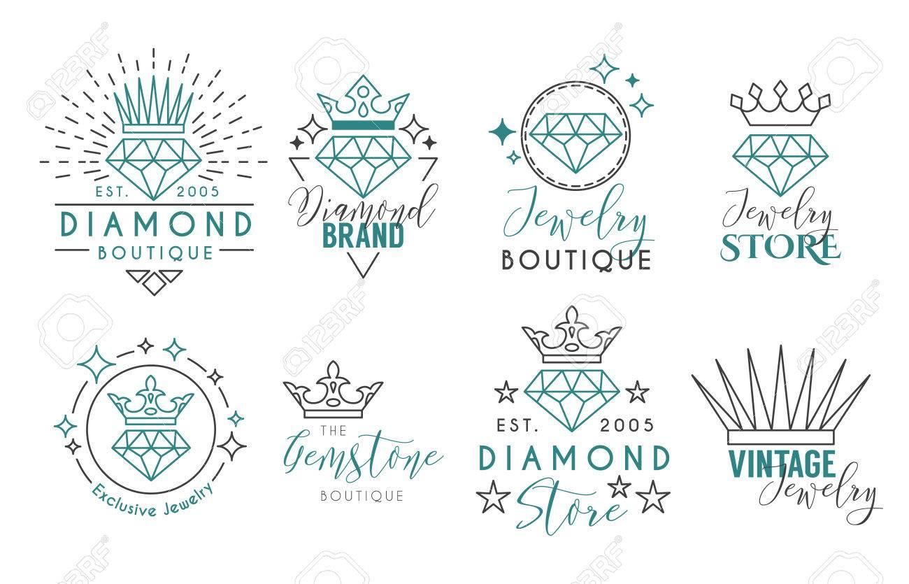 Conjunto De Logotipos De Joyas O Plantilla De Etiquetas Para Joyería ...