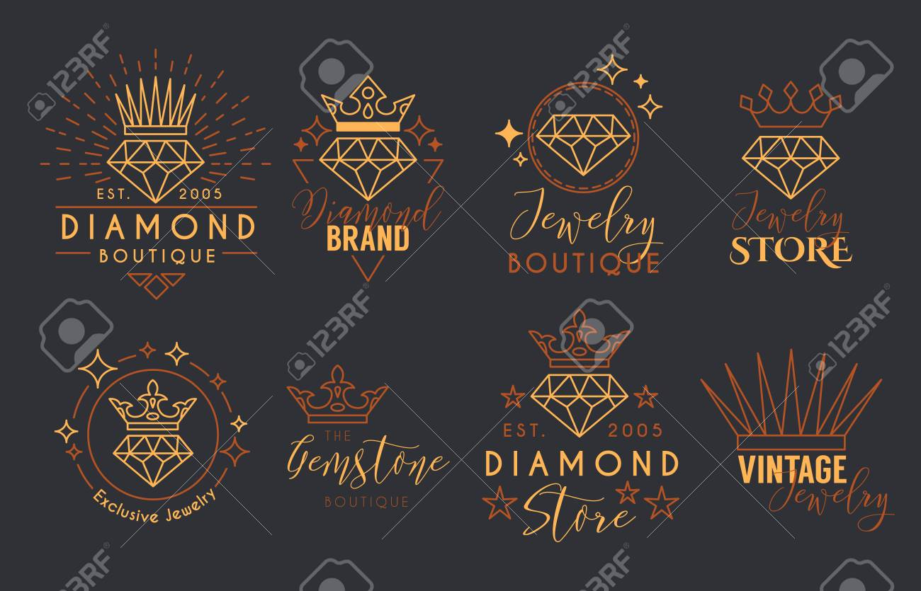 Jewelry logo set or label template for jewelry store jeweler jewelry logo set or label template for jewelry store jeweler business card vector typography wajeb Choice Image