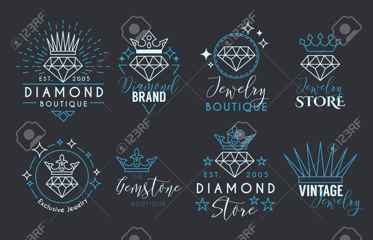 Jewelry Logo Set Or Label Template For Jewelry Store Jeweler - Business card label template