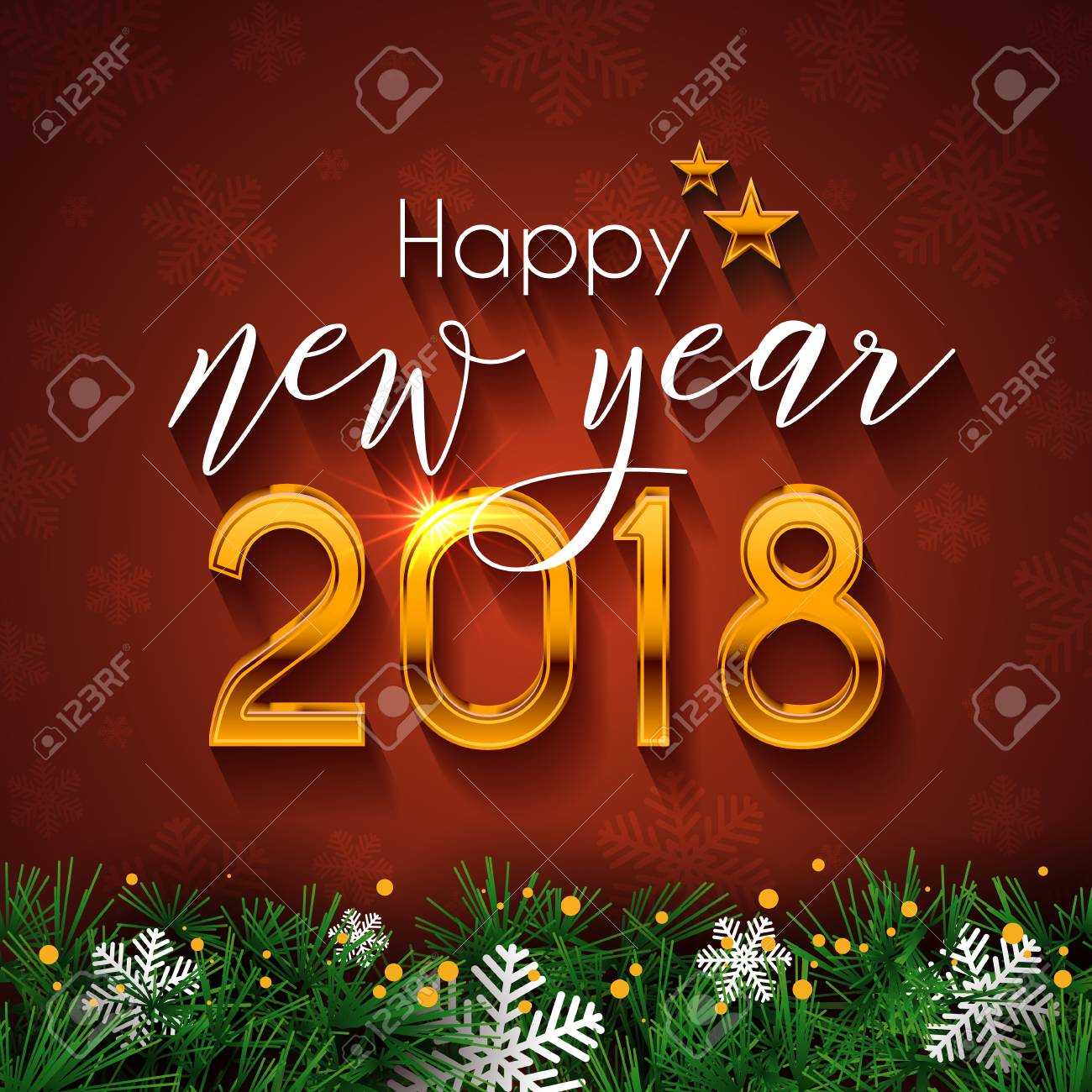 Happy new year 2018 text design vector greeting illustration happy new year 2018 text design vector greeting illustration with golden numbers snowflake and kristyandbryce Gallery