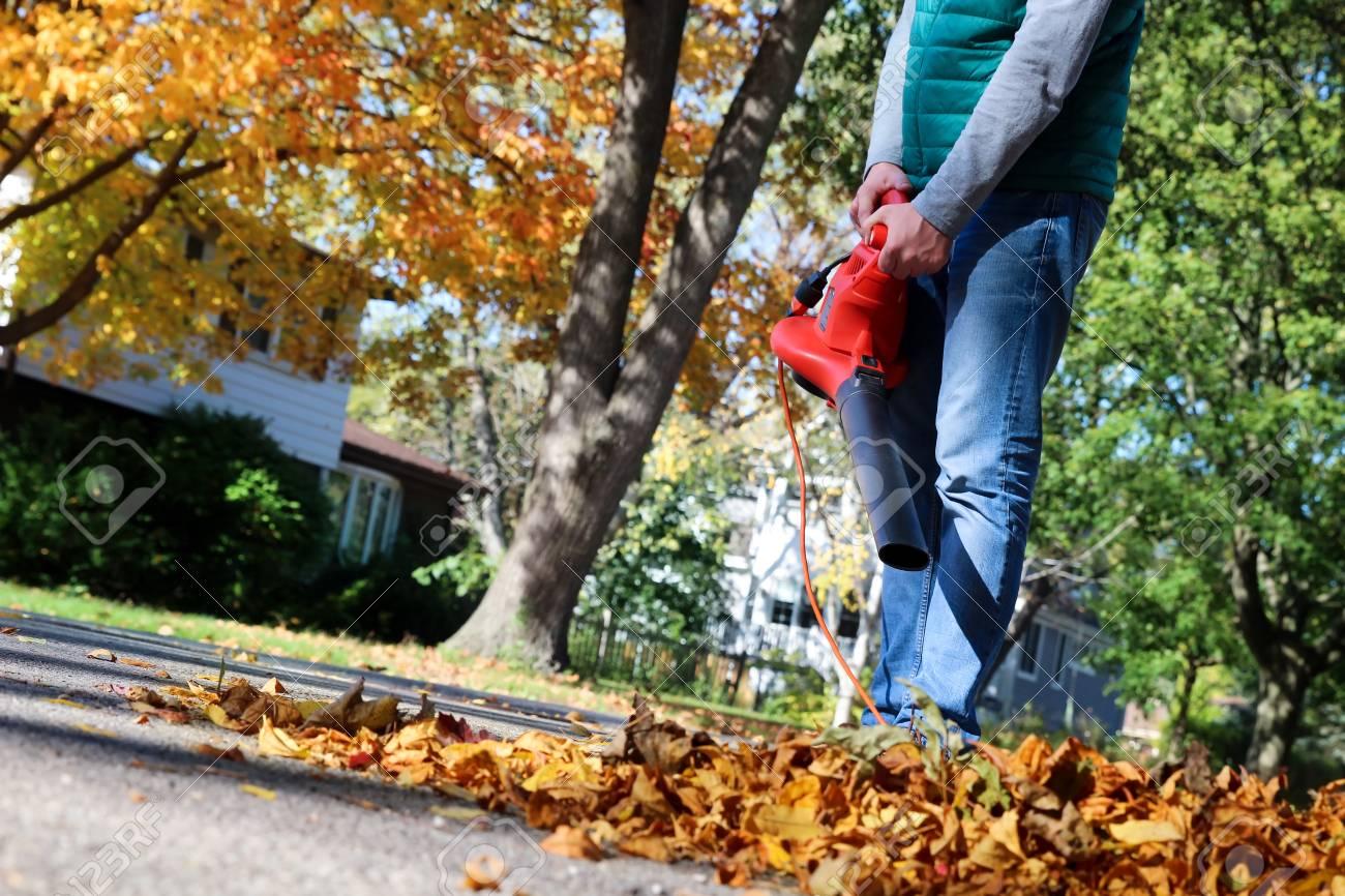 man arbeitet mit laubgebläse: die blätter werden aufgewirbelt und