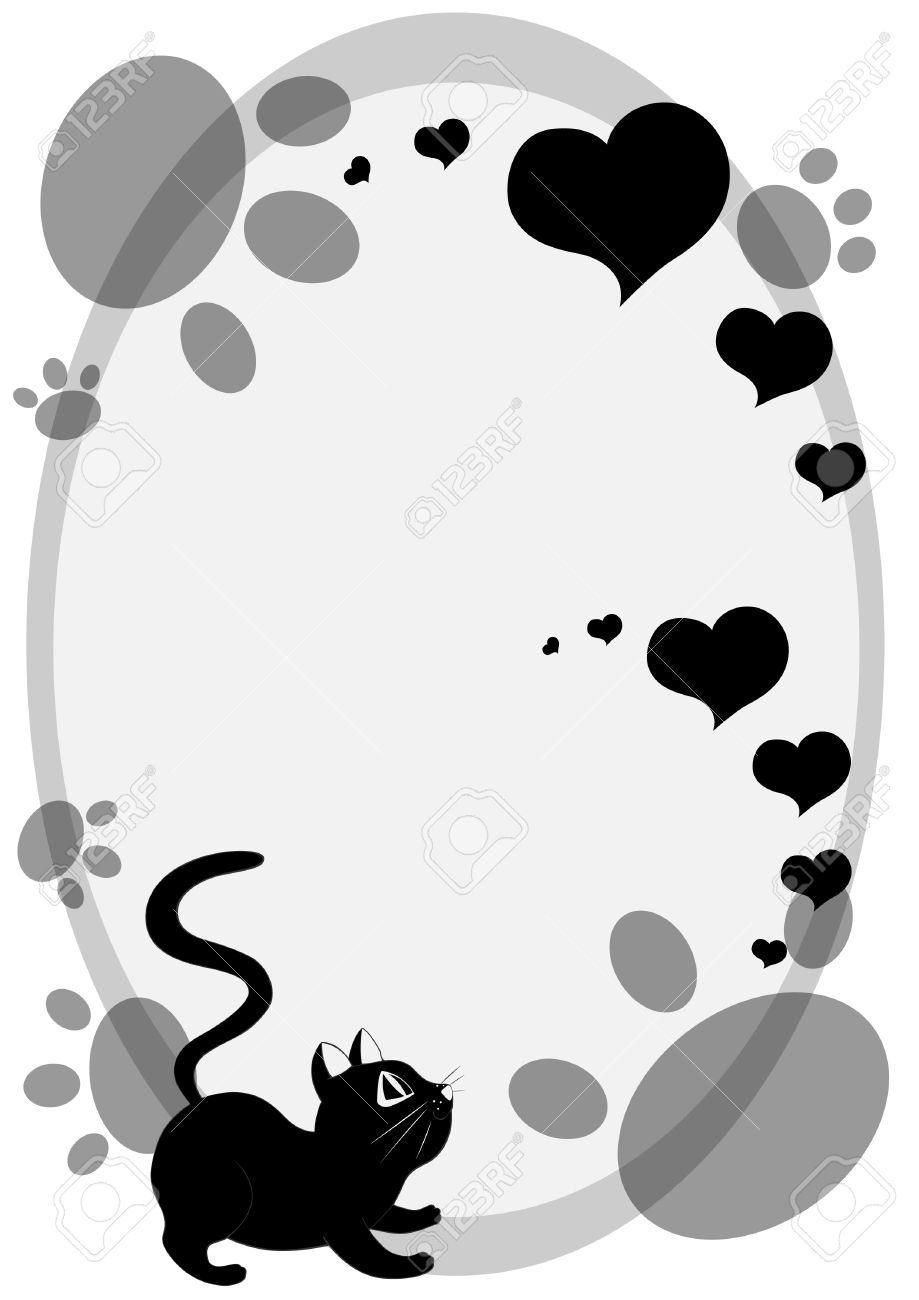 Cute cartoon black cat background with cat foot prints and hearts. Stock Vector - 12325164