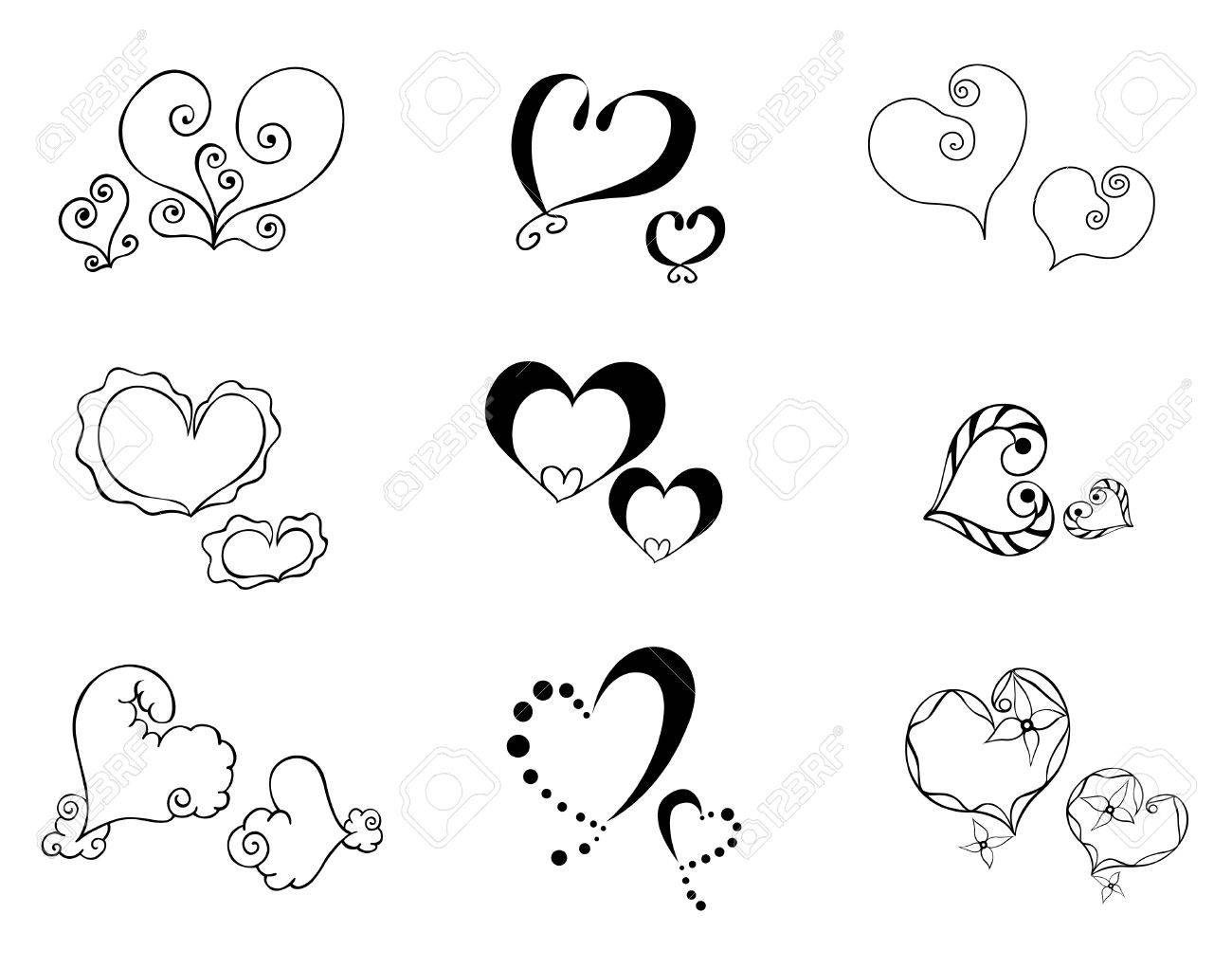 Heart with floral ornament, Element for design, vector image, set of 9 cute hearts Stock Vector - 12325154