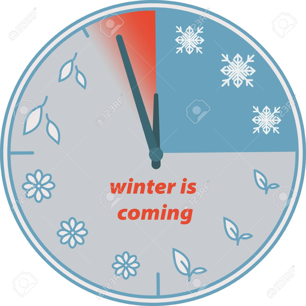 Winter is coming. Clock. Change of seasons - 124387951