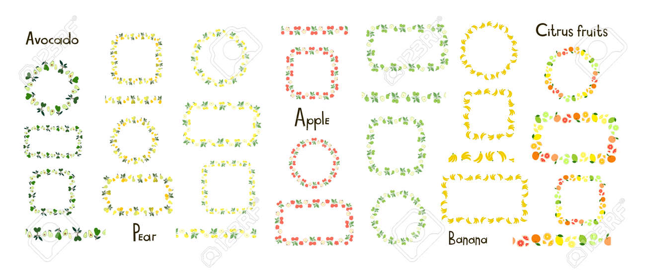 Set of decorative vector frames and borders isolated on a white background. Avocado, pear, apple, banana, citrus fruits. Endless brush, floral seamless border. Line pattern, edge decor. Fruit ornament - 157229277