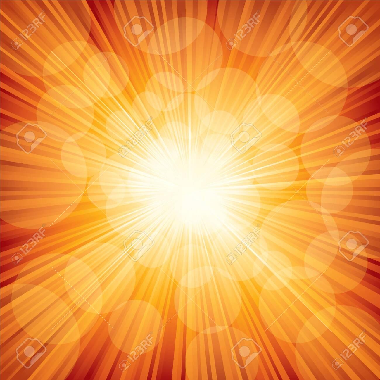 Vector illustration of orange sunbeam. - 150586221