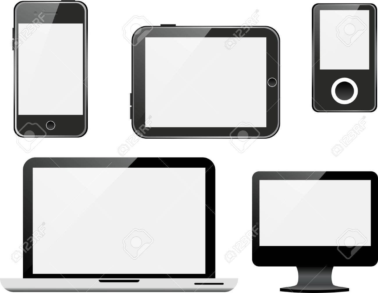 Vector set of devices on white background. - 150611022