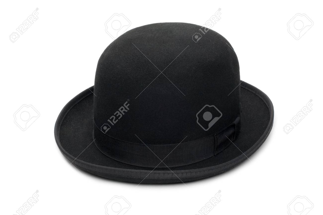 eff8244442f Stock Photo - Stylish black bowler hat made of felt. Isolated on a white  background.