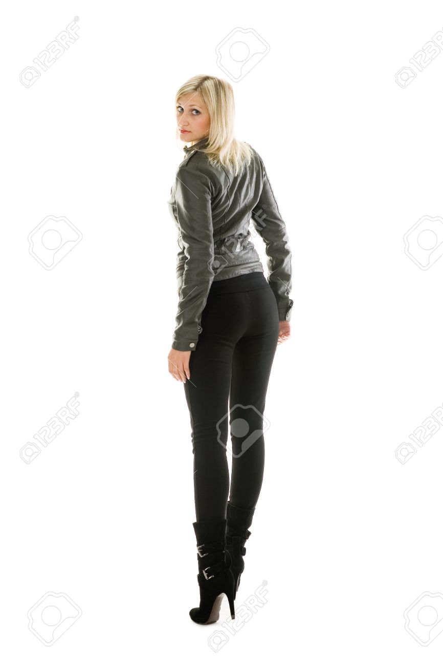 Beautiful Girl In Leather Jacket And Jeans. Stock Photo, Picture ...