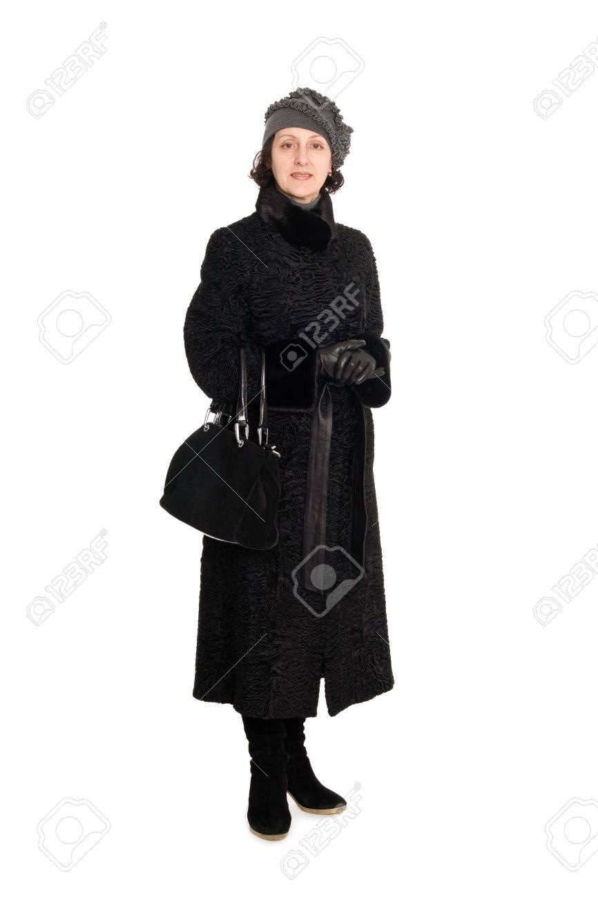 Piel caracul Un Elegante Abrigo Mujer De Breitschwanz Una Con nYWOZzx