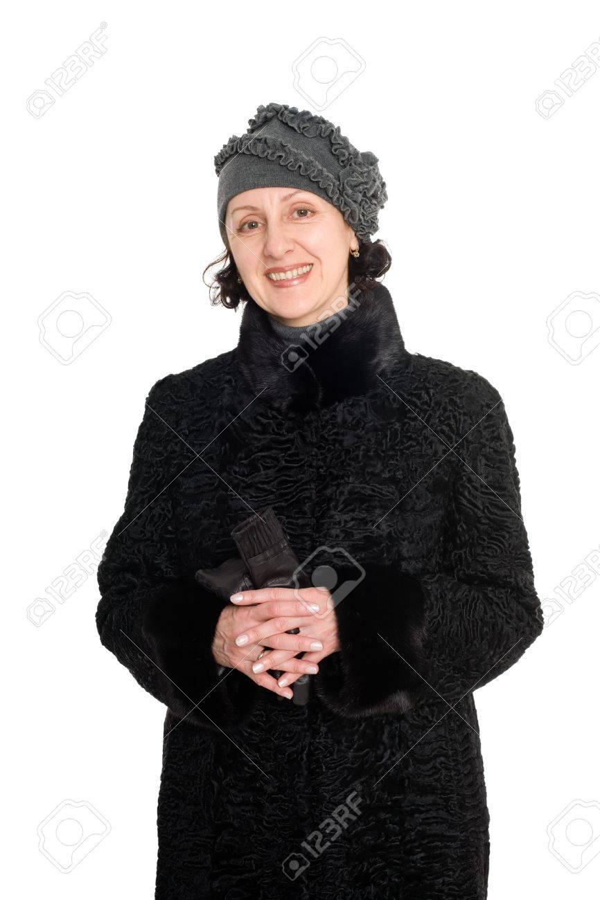 Con Sonriente Piel Un Breitschwanz De Mujer Abrigo caracul 1qx5B8q