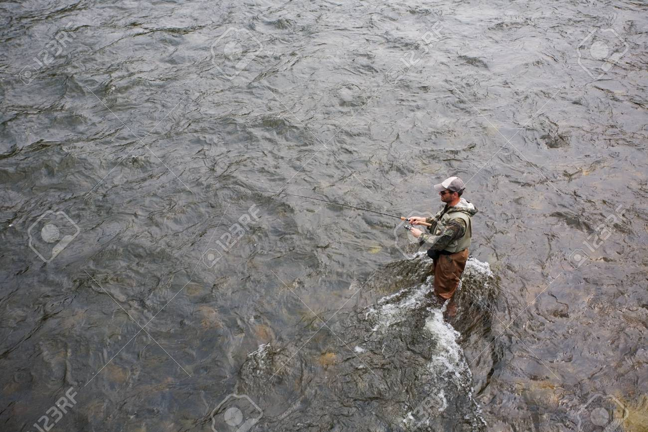 Fisherman catches of salmon on a mountain river Stock Photo - 12064948