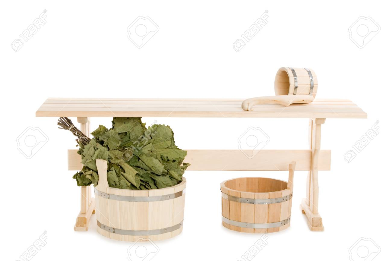 Bathroom items of traditional Russian bath made of wood Stock Photo - 13321467