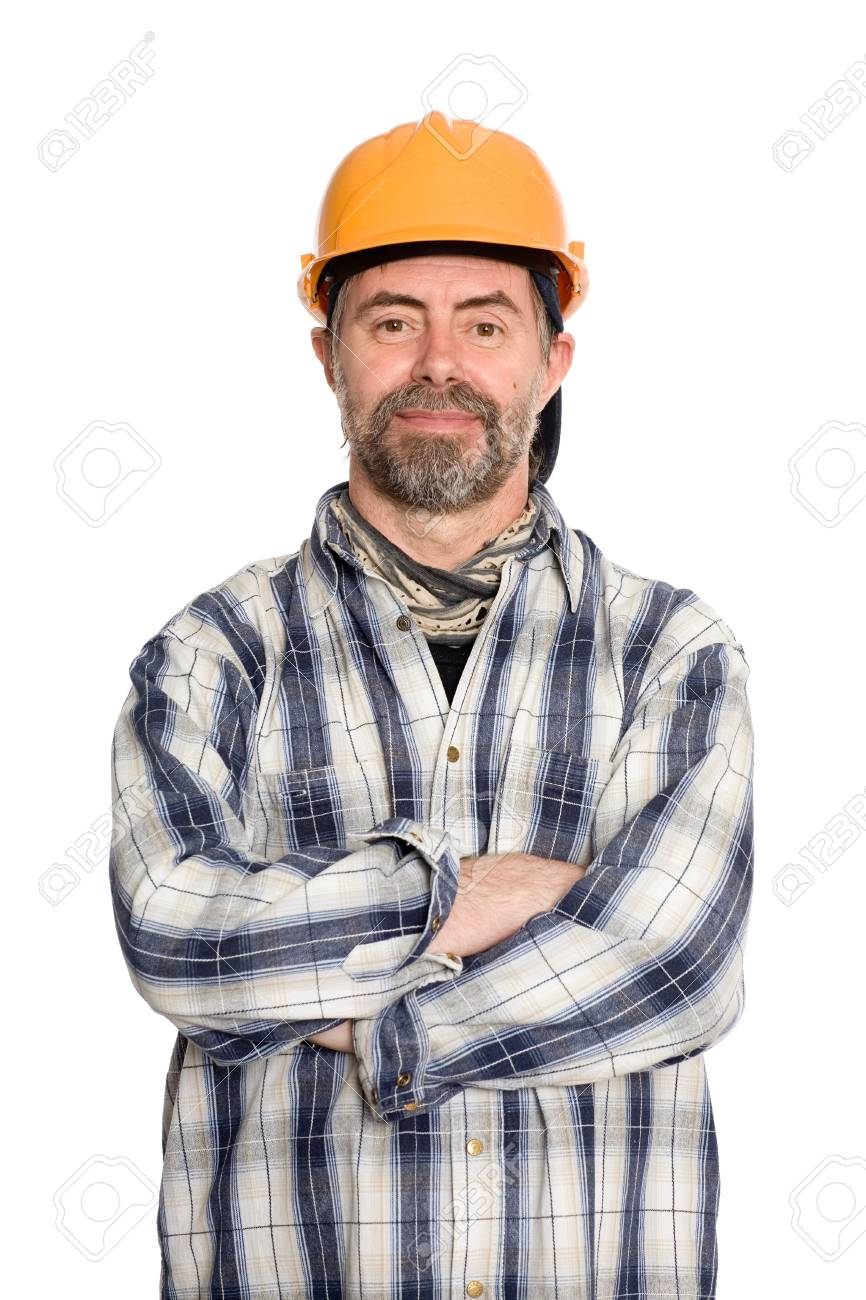 Friendly smiling construction worker in a protective helmet. Stock Photo -  13701863 12a56752d21c