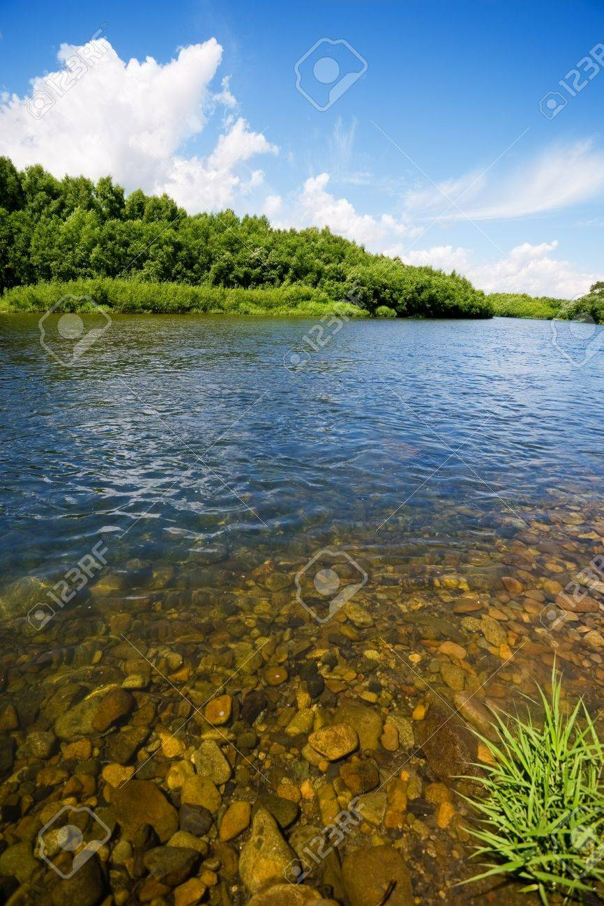 River summer landscape with bright blue sky and clouds Stock Photo - 15003509