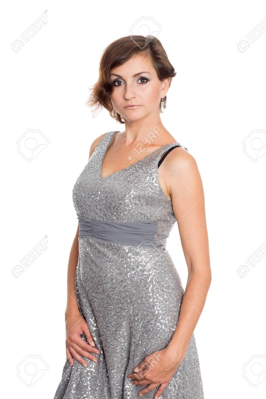 Vestido gris de mujer