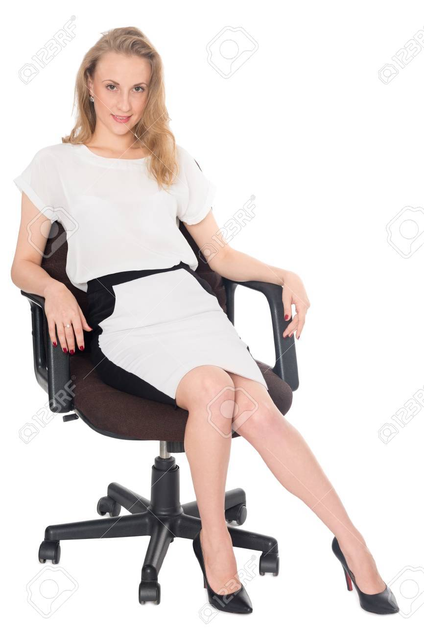 Pretty Young Business Woman Sitting In An Office Chair Stock Photo Picture And Royalty Free Image Image 33442727