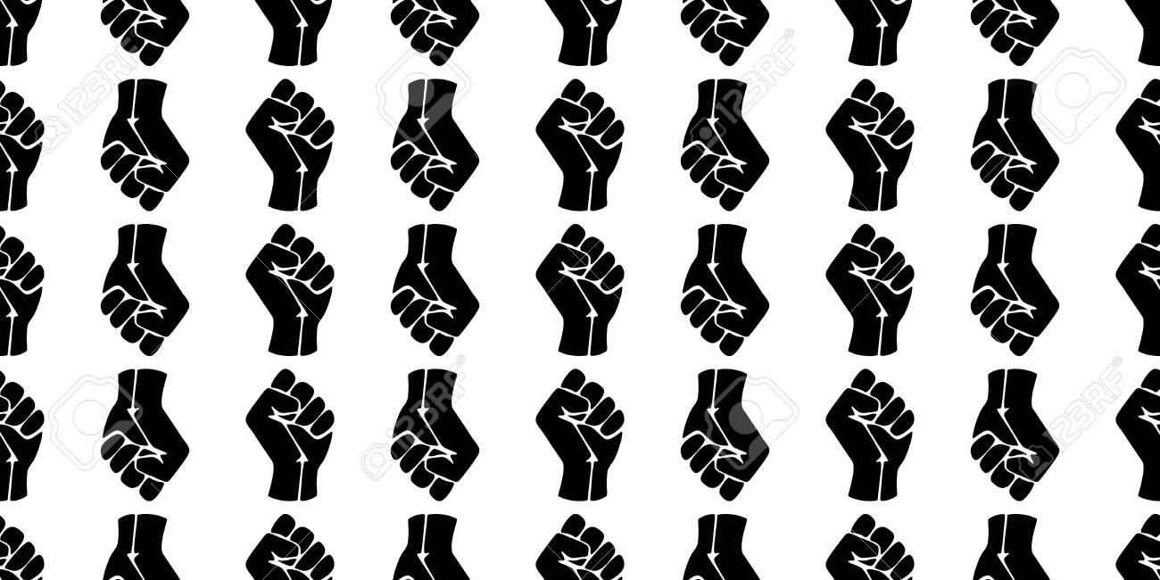 Symbol of the black freedom movement. Black lives matter. Vector pattern with fists. - 151166537