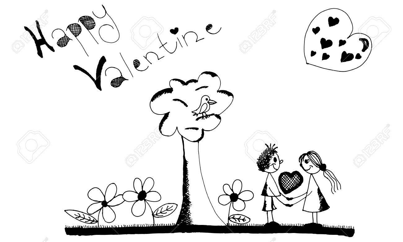 Hand drawing people to be like under a tree with flowers around it. The heart of the hands. Stock Vector - 12417719