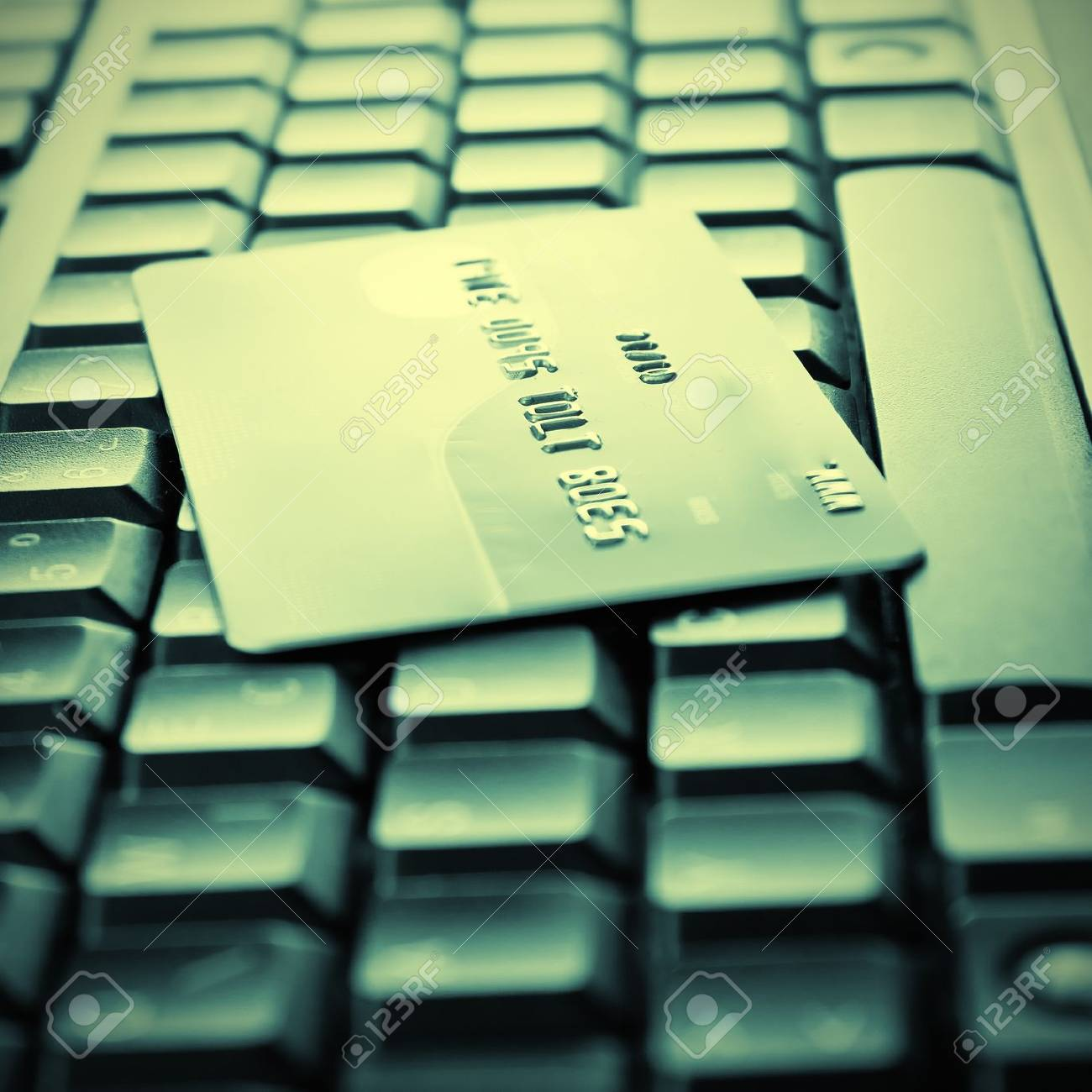 Credit cards on the keyboard,close up photo Stock Photo - 10936581