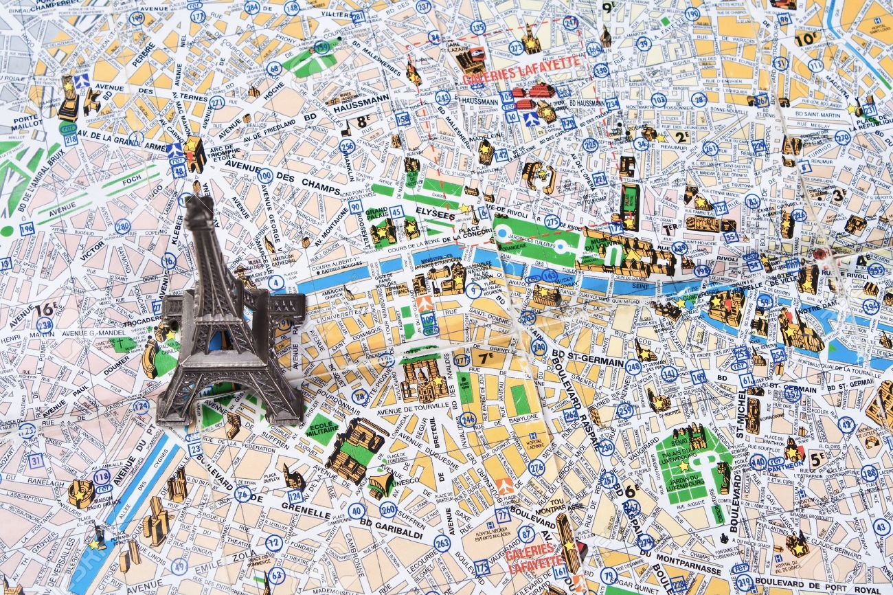 eiffel tower on a map of paris stock photo 11514697