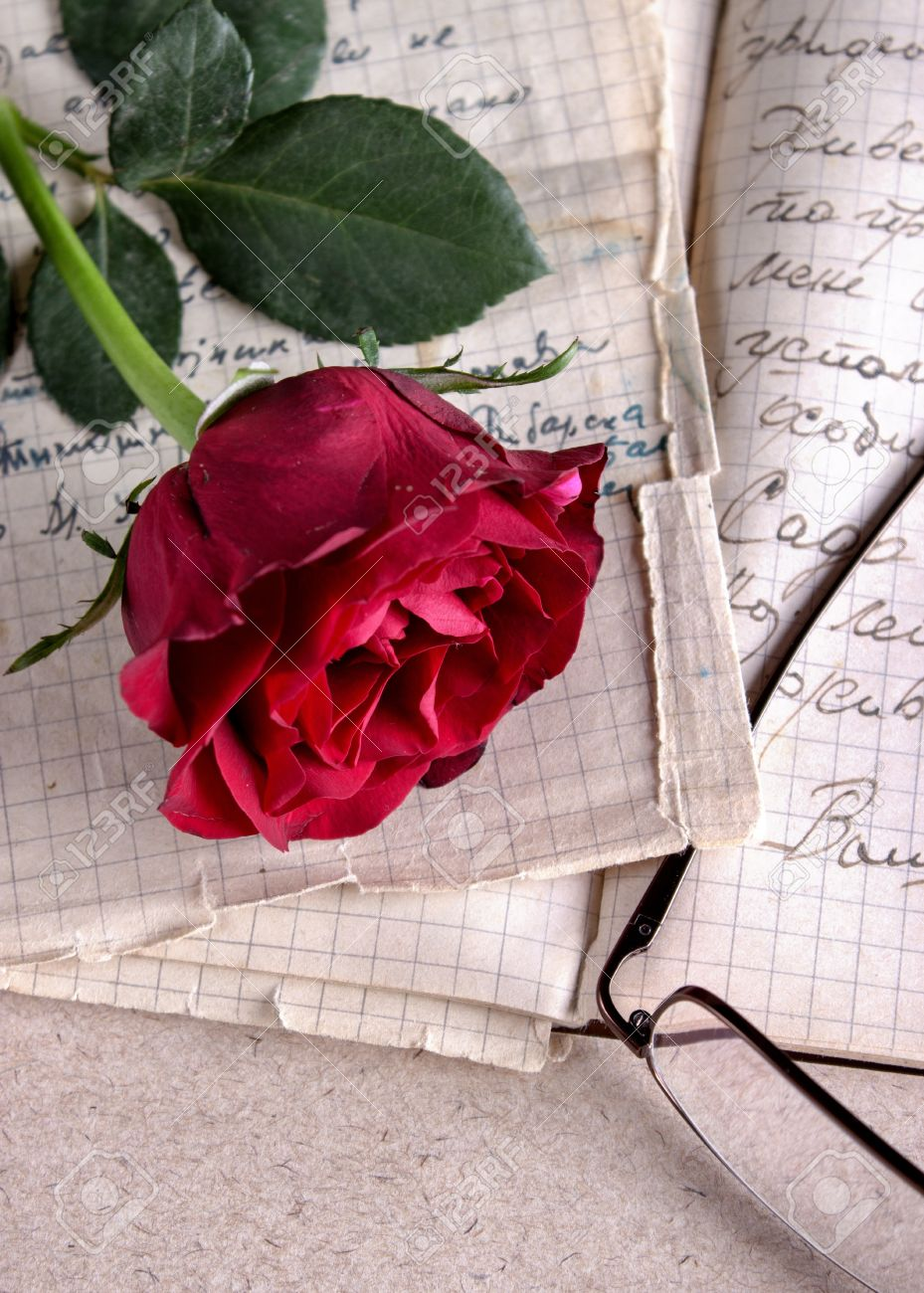 red rose on old paperlove letter stock photo 18359075