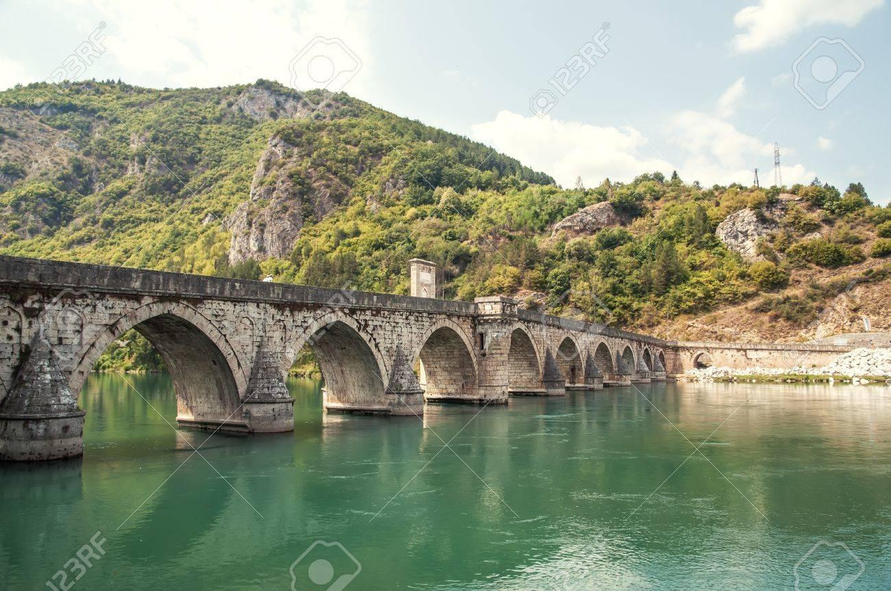 old bridge in Visegrad on Drina river Stock Photo - 21786073