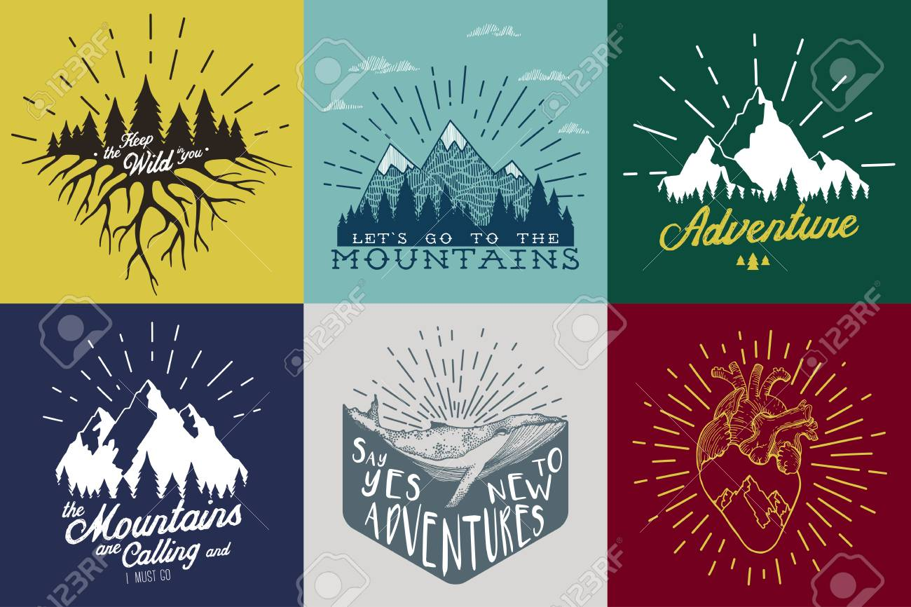 Vintage vector set with inspirational and motivational posters