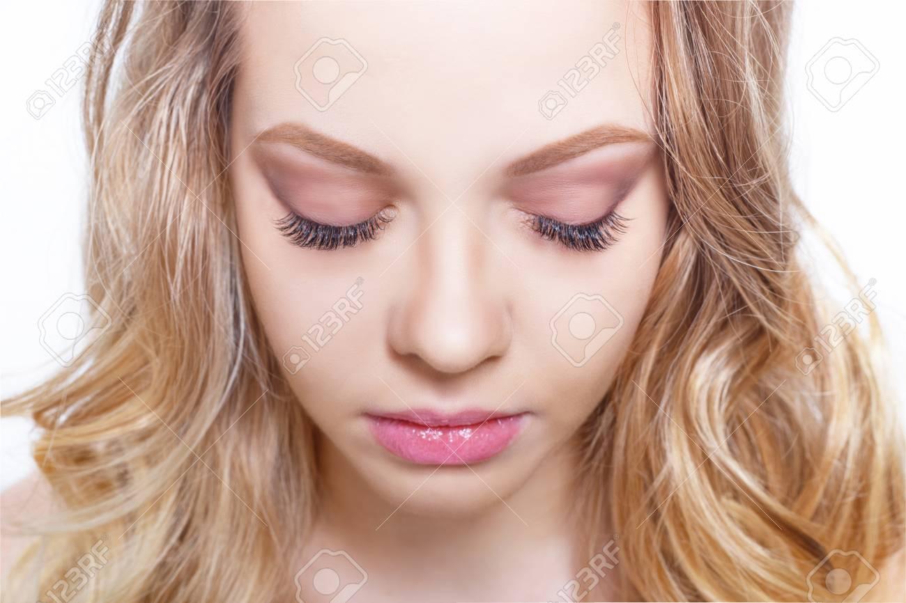 Beauty Make Up Fur Blaue Augen Schones Gesicht Nahaufnahme