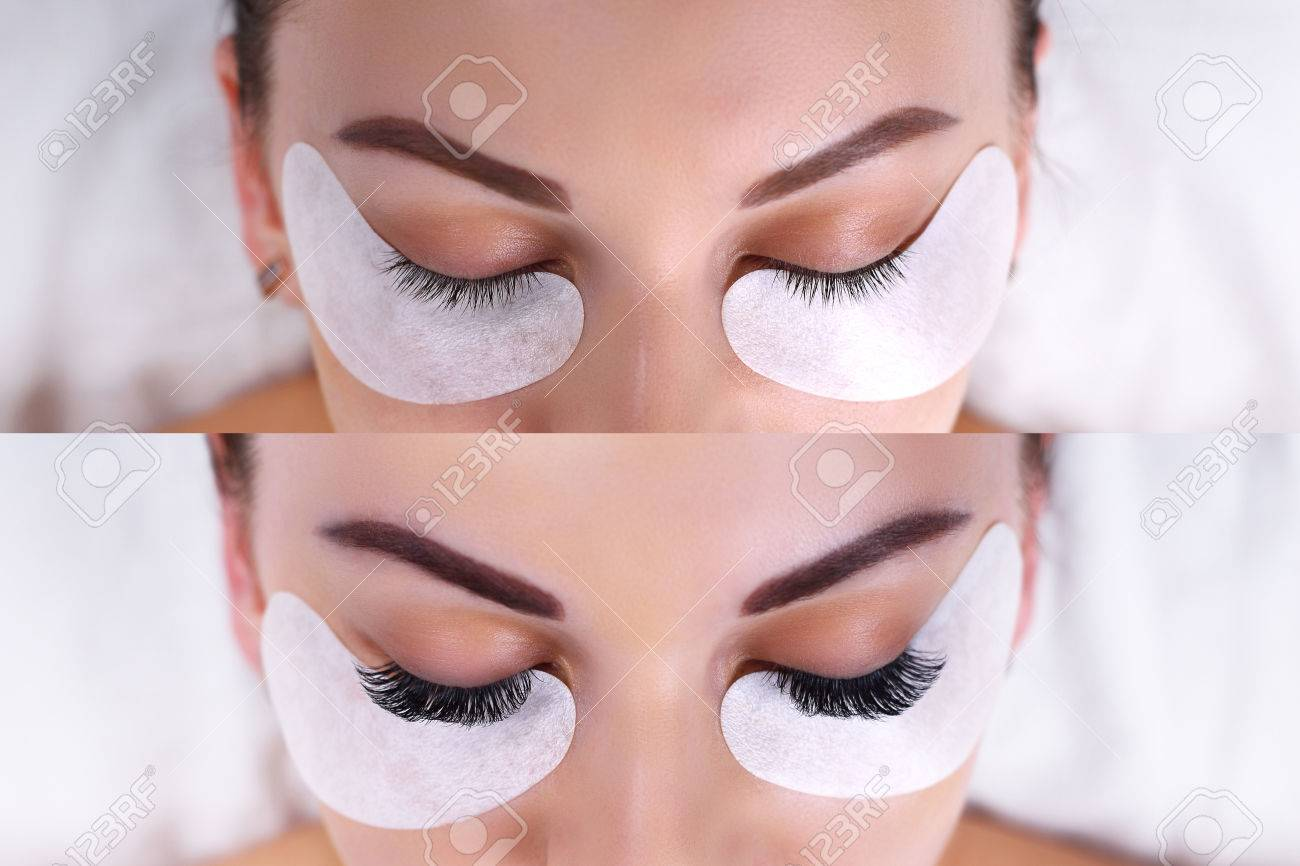 Eyelash Extension Procedure. Female eyes before and after. - 78082783