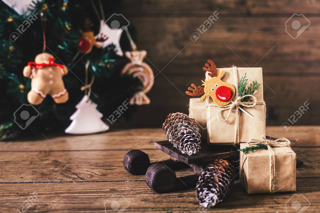 Christmas Gifts With Boxes On Wooden Background. Vintage Style ...
