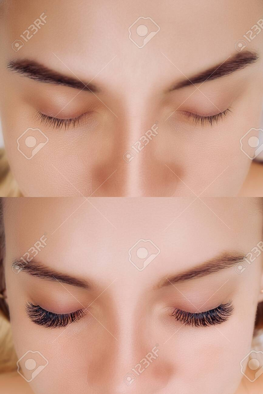 Eyelash Extension. Comparison of female eyes before and after. - 129923710
