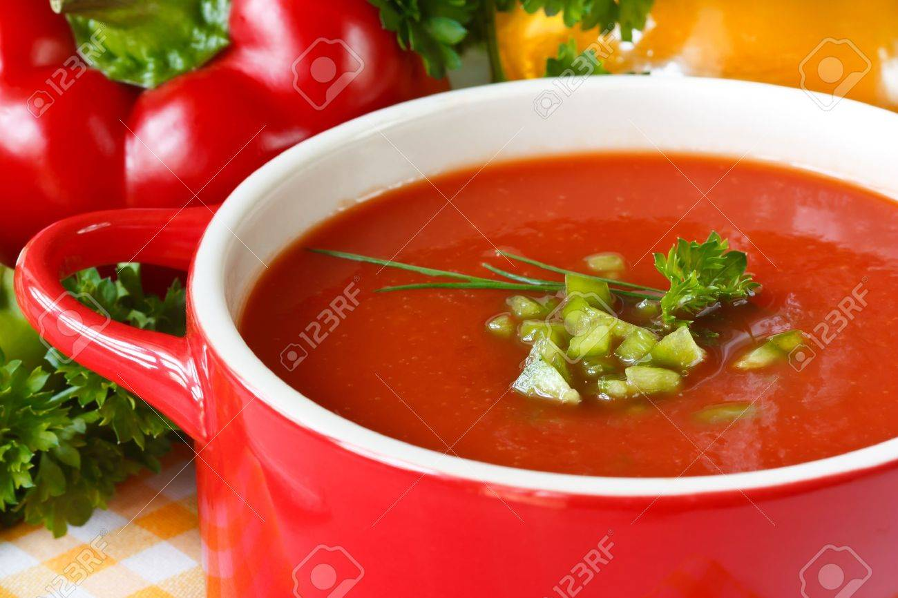 Tasty tomato soup with green paprika and herbs. - 9769259