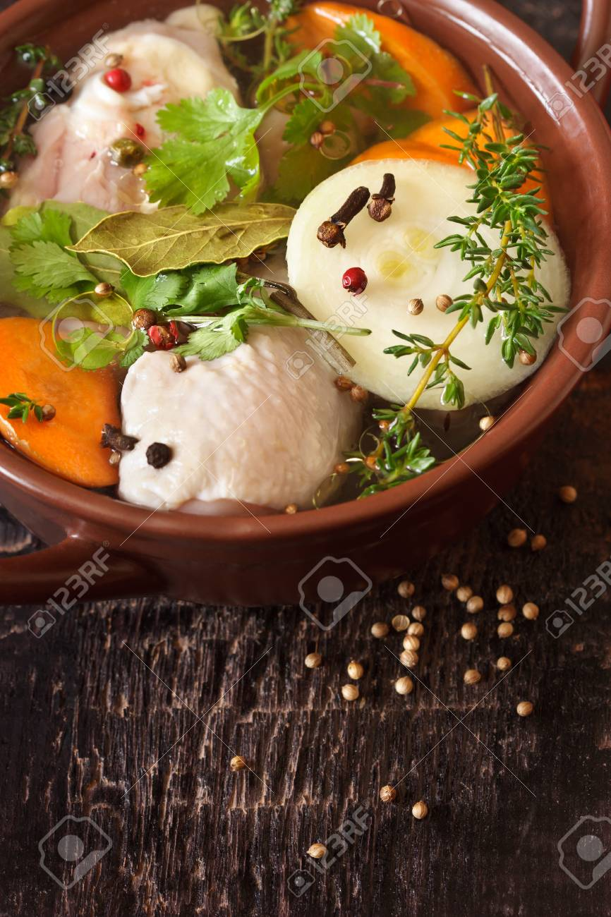 Traditional homemade chicken bouillon with vegetables and spices Stock Photo - 18813086