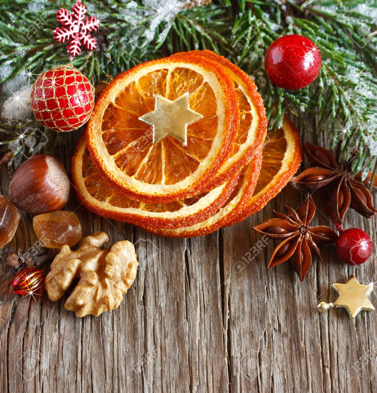 Christmas Decoration With Dried Orange Slices Nuts And Spices