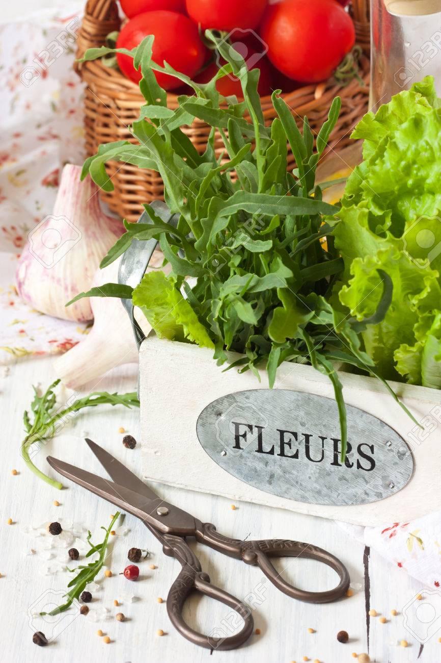 Kitchen Garden Vegetables Fresh Kitchen Garden Vegetables And Aromatic Herbs On A White