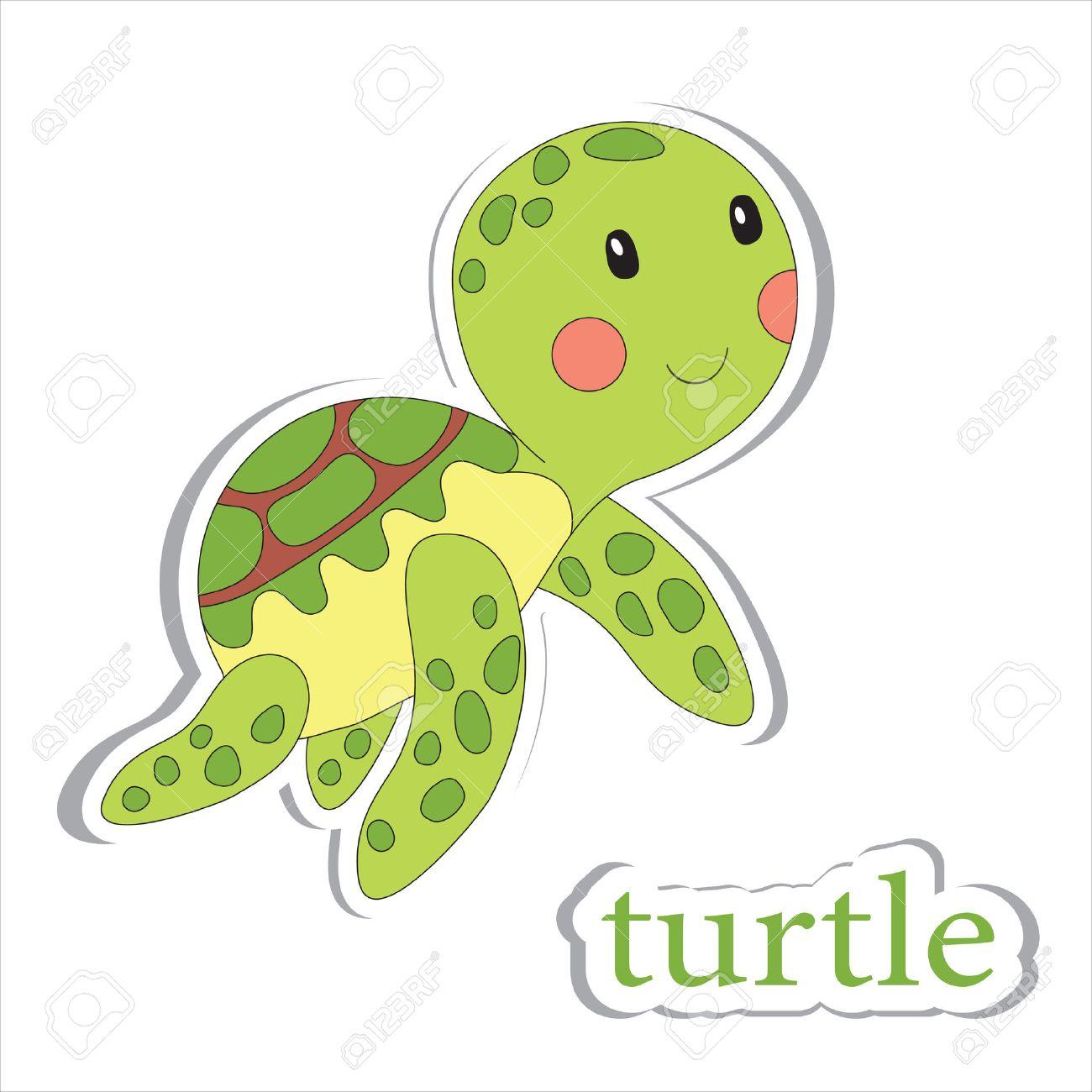 Cartoon Schildkröte Isoliert Auf Weiß. Malbuch. Vektor-Illustration ...