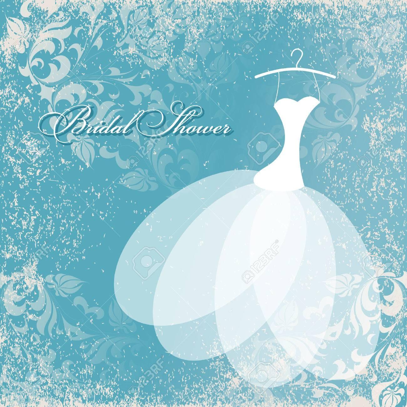 Beautiful Invitation Card With Wedding Dress On Hangers , Vintage ...