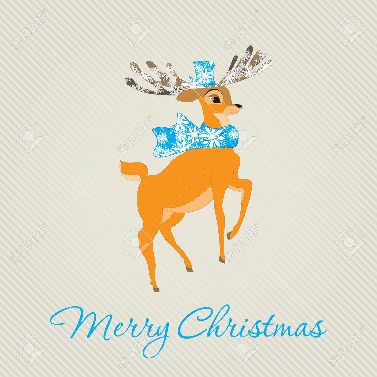 Merry Christmas Greeting Card with deer. Vector illustration.  Holiday design. Winter. Stock Vector - 22858872