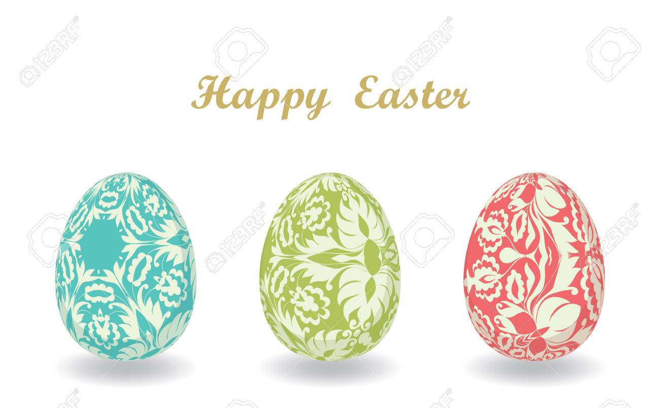 Easter Card With Eggs Set Of Easter Eggs Template For Design – Easter Greeting Card Template