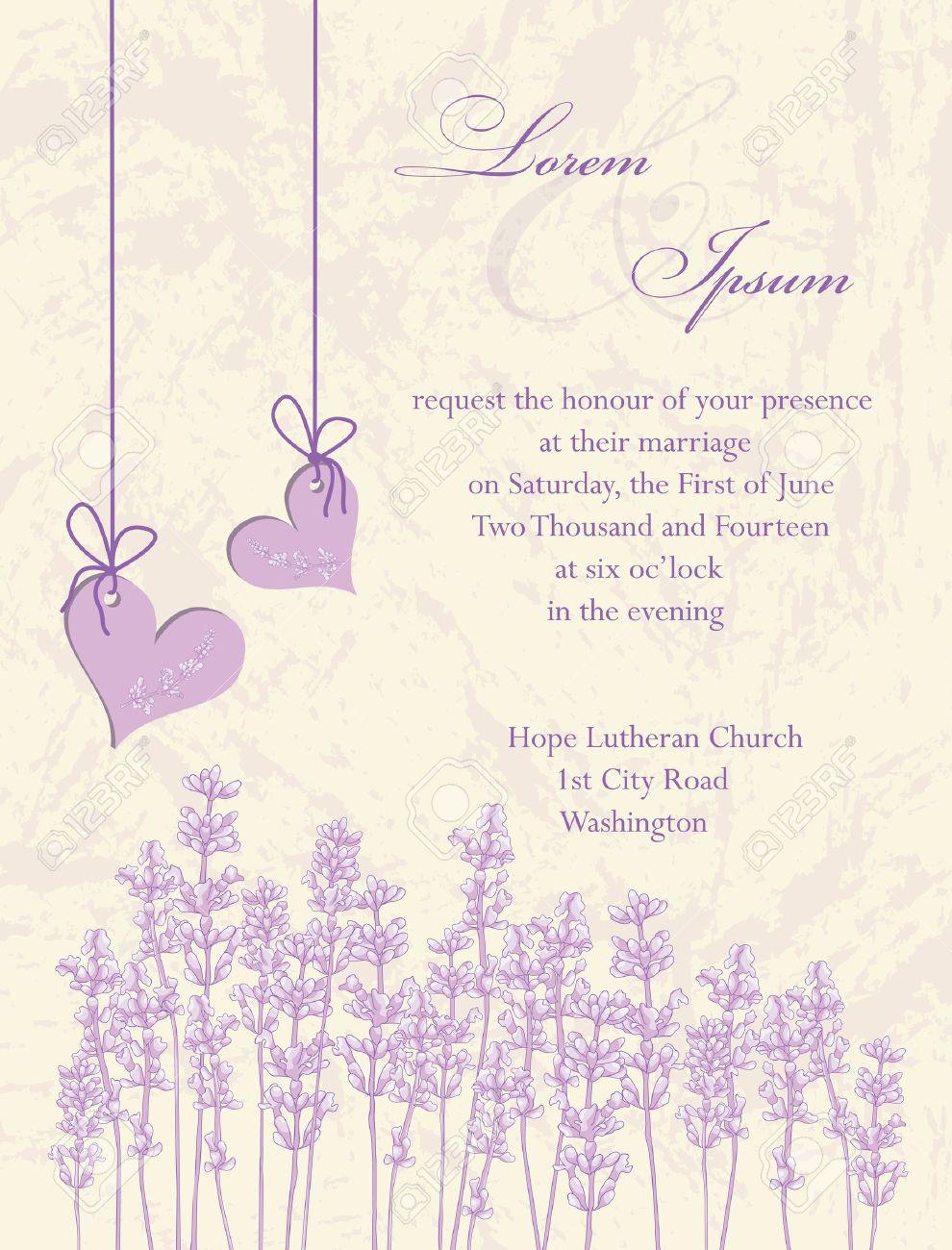 Wedding Invitation Card, Flyer Design, Packaging Design. Lavender ...