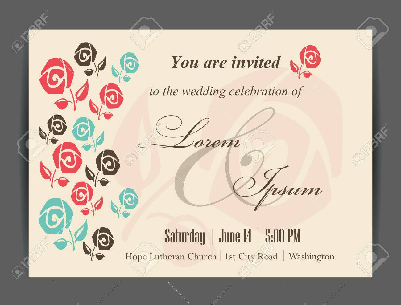 Mariage Carte D Invitation D Elements Floraux Vintage Background Vector Illustration