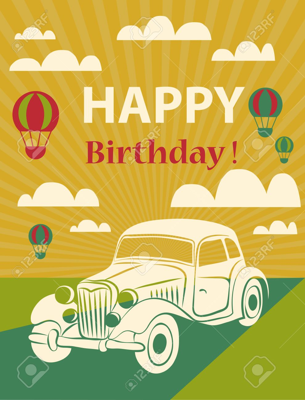 Happy Birthday Card With Retro Car And Hot Air Balloons Vector Illustration Stock