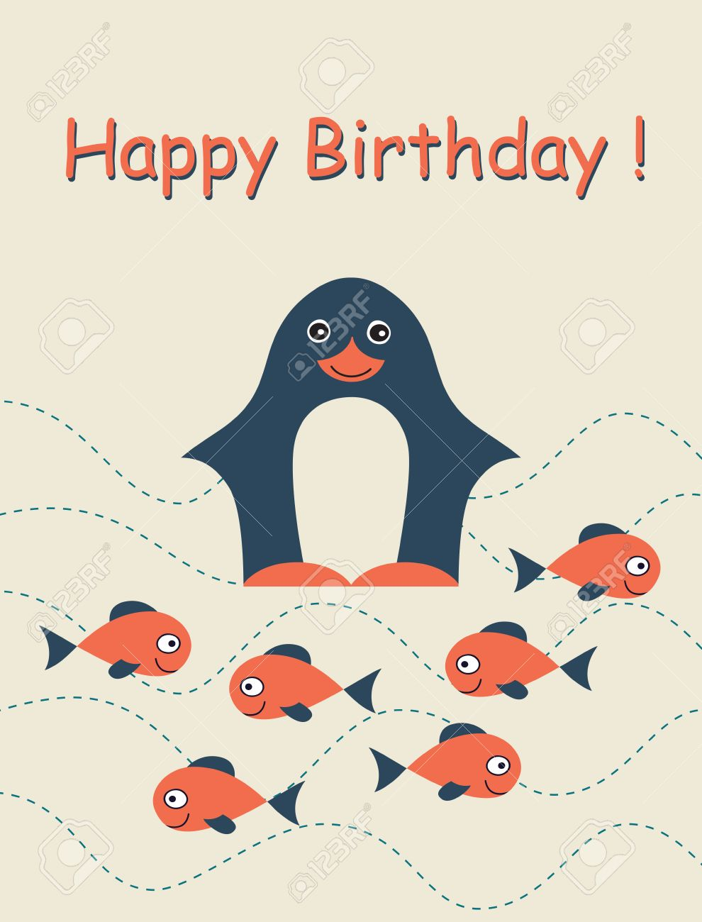 Happy Birthday Card With Penguin And Fish Childish Background – Fish Birthday Card