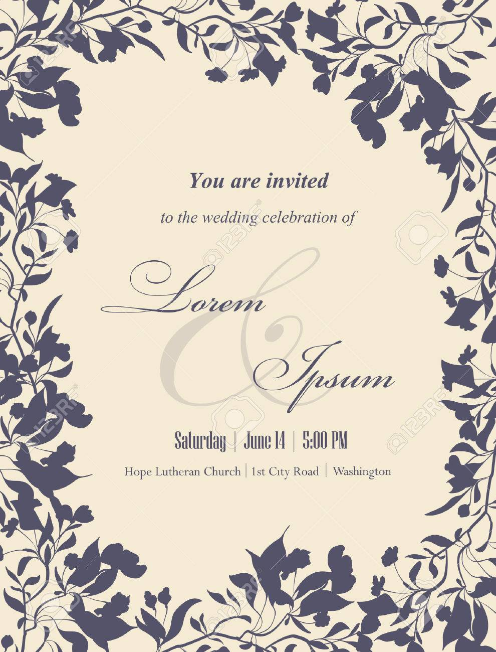 Wedding invitation cards with floral elements. Floral frame and place for your text. Use for invitations, announcement cards. Vector illustration. - 35045255